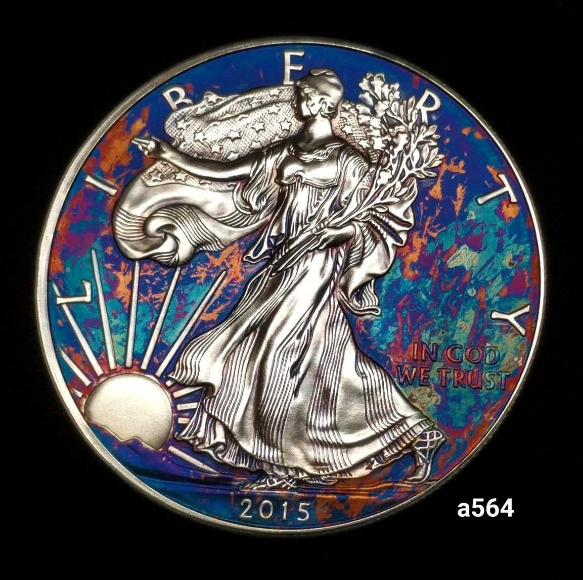 Rainbow Toned Silver American Eagle Coin 1 Troy Ounce Fine Silver Uncirculated Artistic Toning Silver Eagle Coins American Silver Eagle Eagle Coin