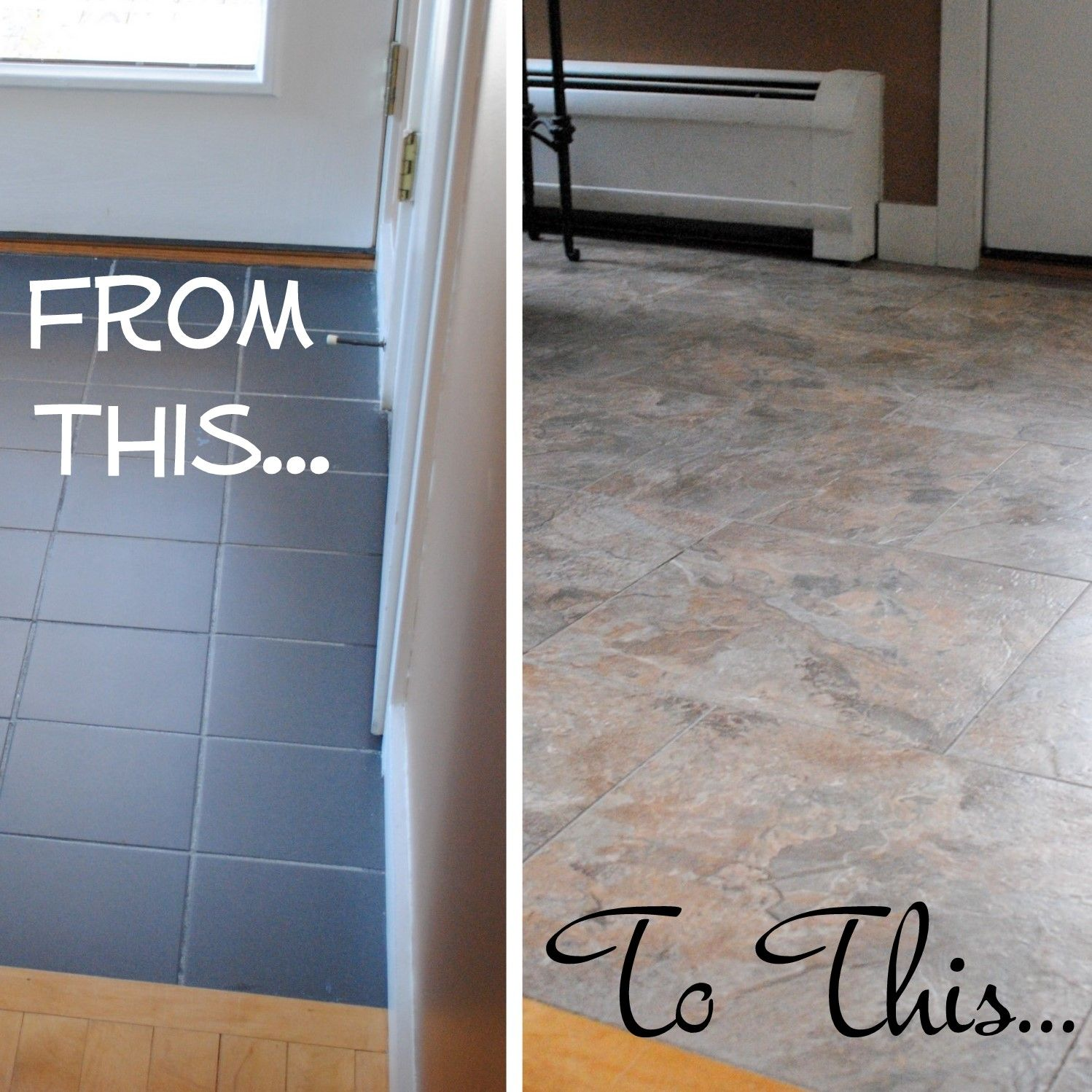 did you know that you can grout peel-and-stick vinyl tiles to look