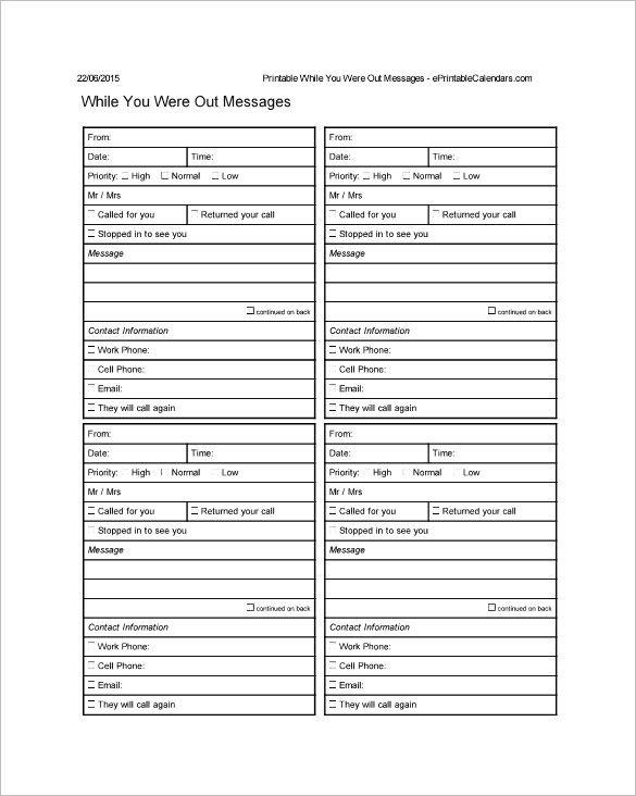 9 Message Slip Templates Messages Templates Phone Messages