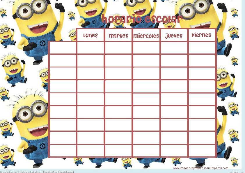 Horario escolar con fondo de minions situaciones for La caja sucursales horarios