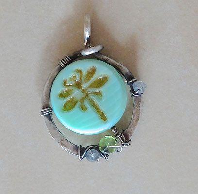 PaLaLi-Amulett, Anhänger,Silber,Silberdraht,gehämmert Unikat,Libelle ...