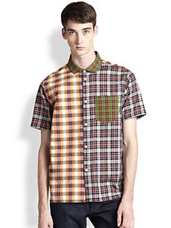 Marc by Marc Jacobs - Multi Plaid Patchwork Shirt