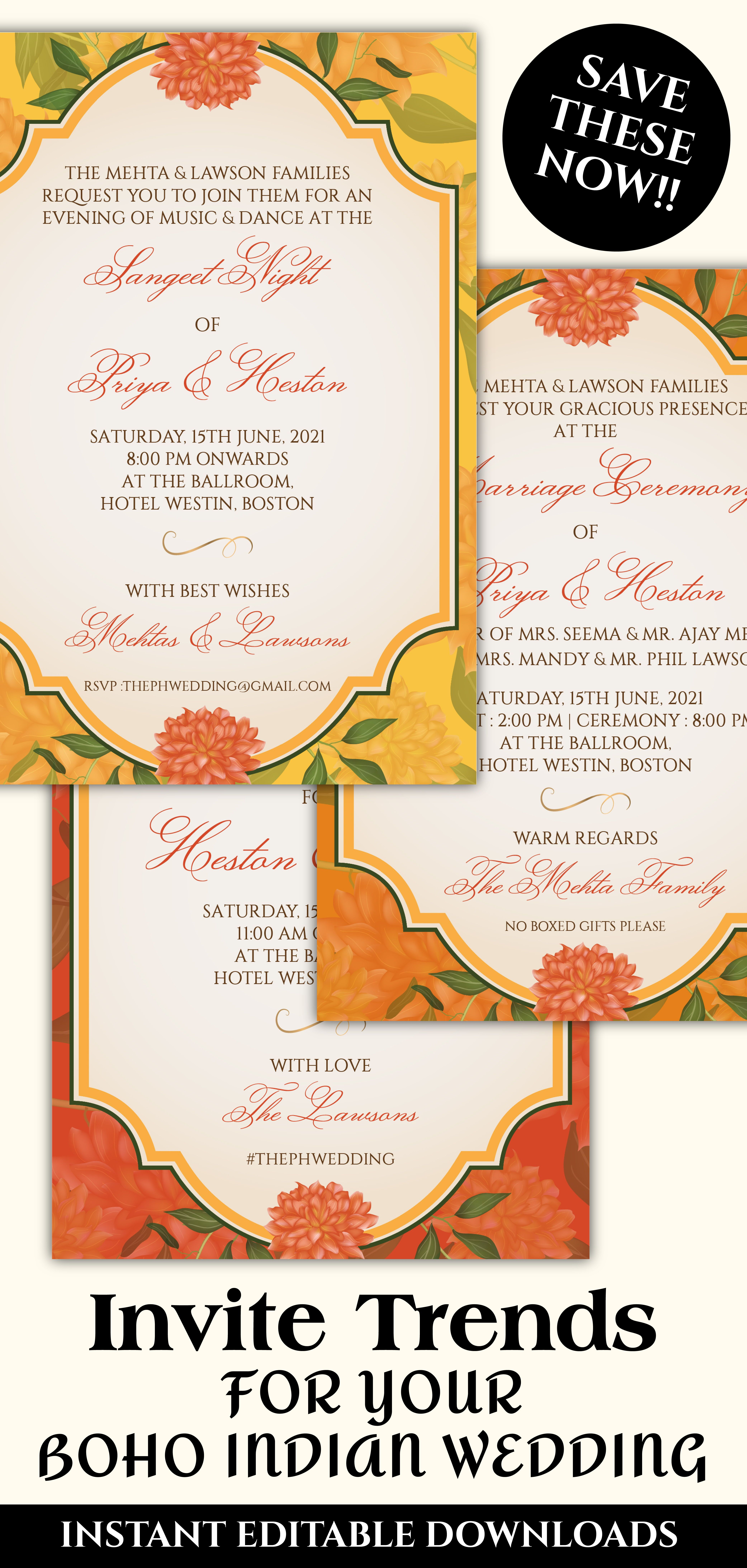 Marigold Wedding Invitation Template Download For A Floral Indian Wed Wedding Invitations Stationery Letterpress Wedding Invitations Indian Wedding Invitations