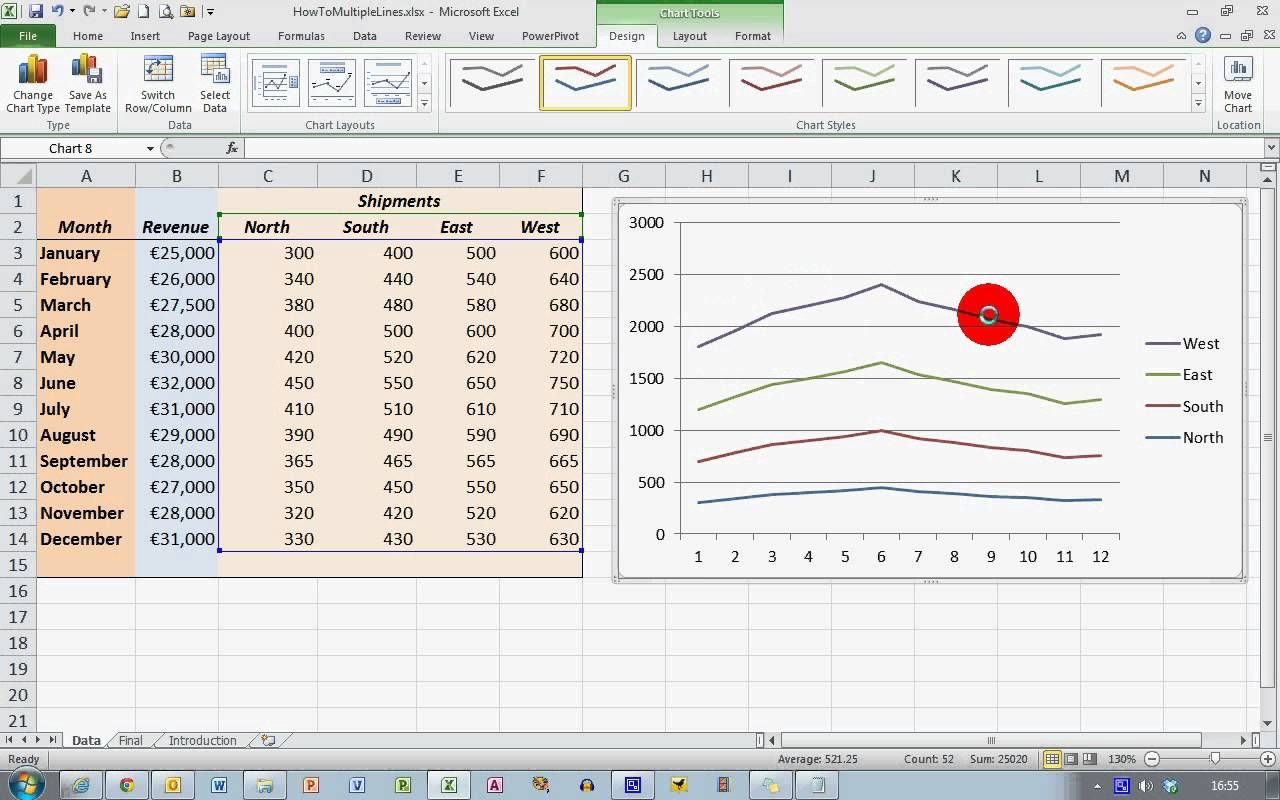How To Plot Multiple Data Sets On The Same Chart In Excel 2010 Excel Chart Chart Design