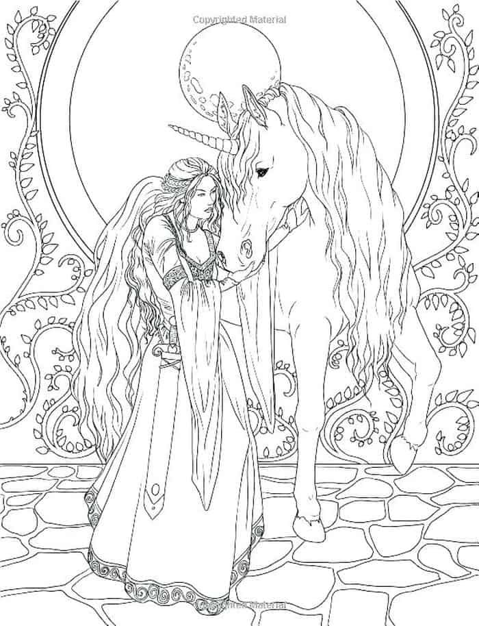 Fairy And Unicorn Coloring Pages For Adults Unicorn Coloring Pages Fairy Coloring Pages Forest Coloring Book