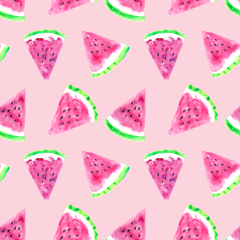 Fabric by the Yard watermelon slices (small scale) - pink