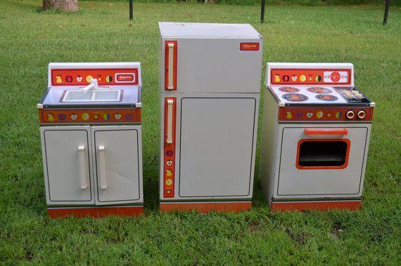 Vintage Three Piece Wolverine Rite Hite Toy Kitchen Set Refrigerator