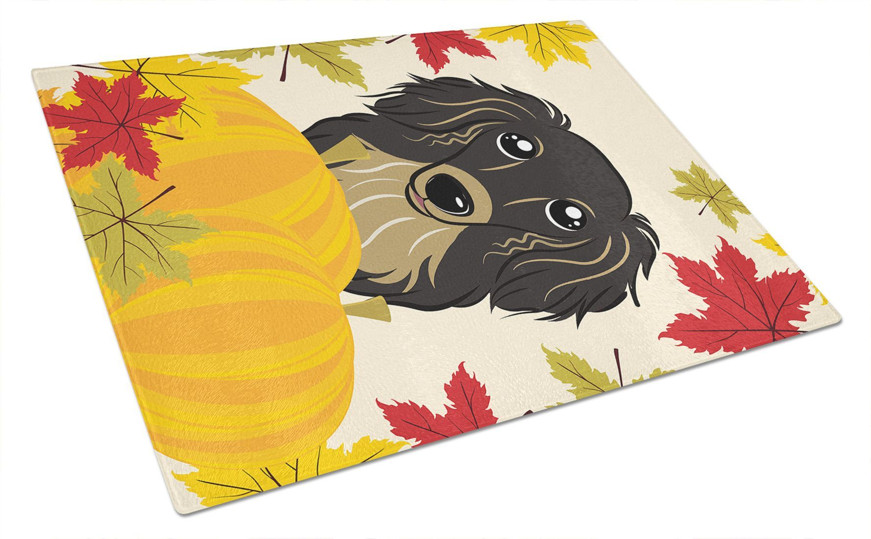 Longhair Black and Tan Dachshund Thanksgiving Glass Cutting Board Large BB2019LCB