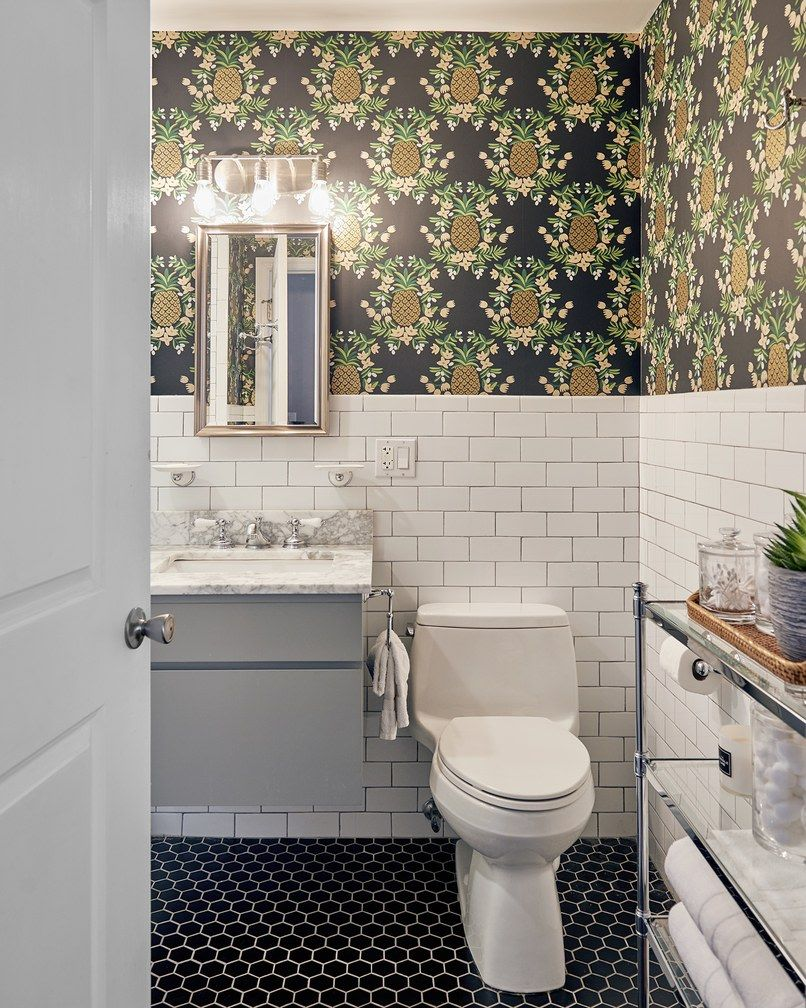 Use Wallpaper In Your Bathroom To Really Make A Statement A Strong Pattern Can Make Any Bathr Bathroom Wallpaper Bathroom Design Contemporary Bathroom Designs