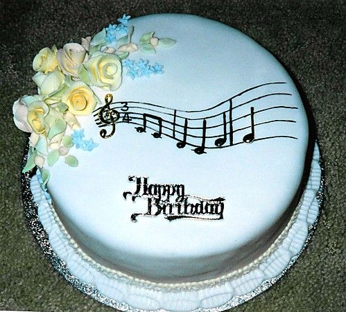 Outstanding Music Notes Birthday Decorations Round Cake With Flower Spray Funny Birthday Cards Online Alyptdamsfinfo