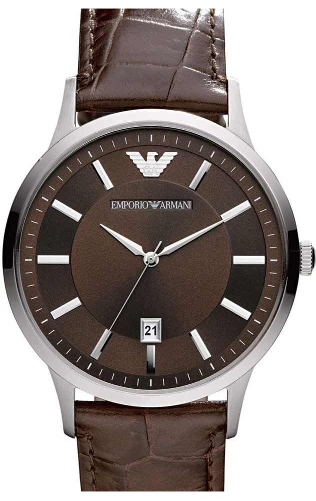 Reloj de hombre Armani caja acero correa piel marrón