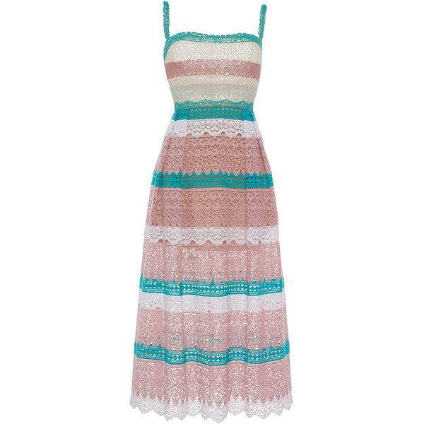 Zuhair Murad Multicolored Macramé Dress with Embroidered Bodice (19.905 BRL) ❤ liked on Polyvore featuring dresses, zuhair murad, stripe, colorful dresses, striped midi dress, embroidered dress, midi dress and red striped dress