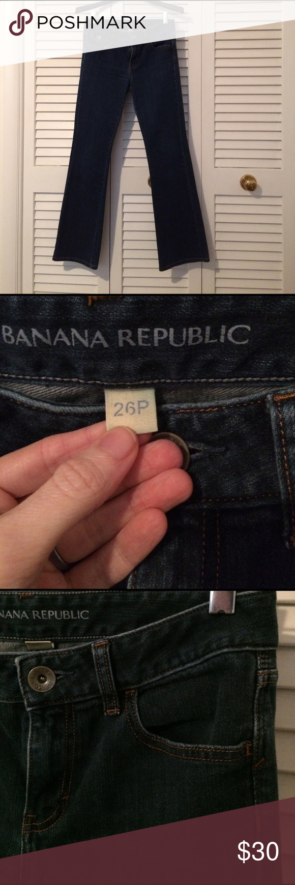 Selling this Banana Republic petite boot cut dark wash jeans on Poshmark! My username is: marisqwksa. #shopmycloset #poshmark #fashion #shopping #style #forsale #Banana Republic #Denim