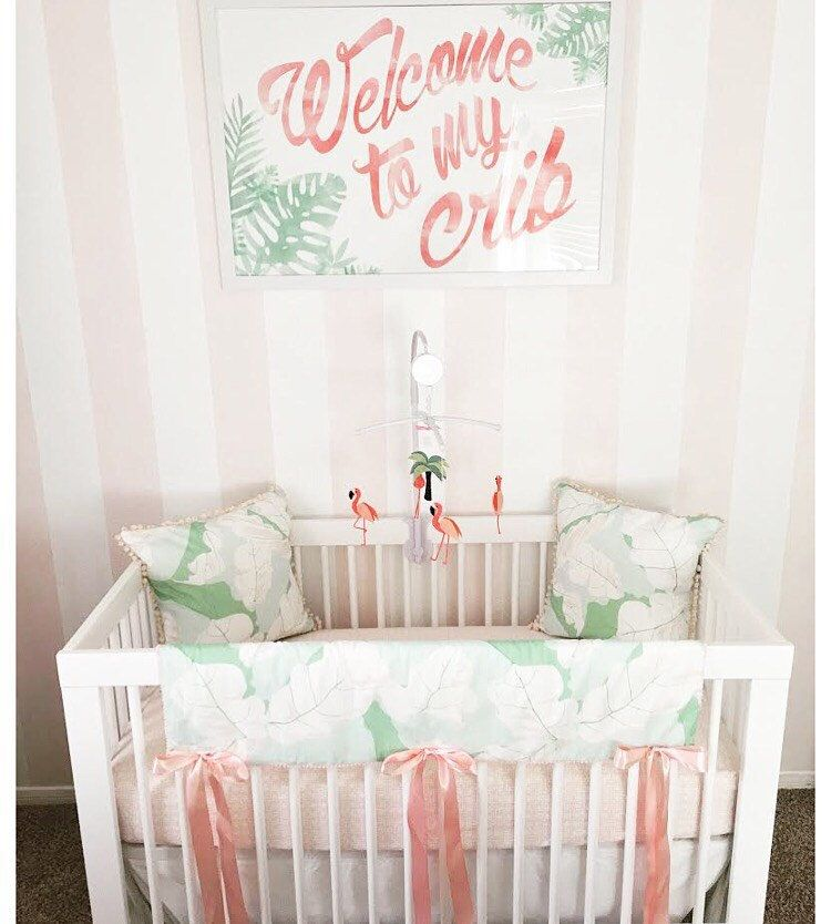 Welcome To My Crib Nursery Art Pink Flamingo Baby New