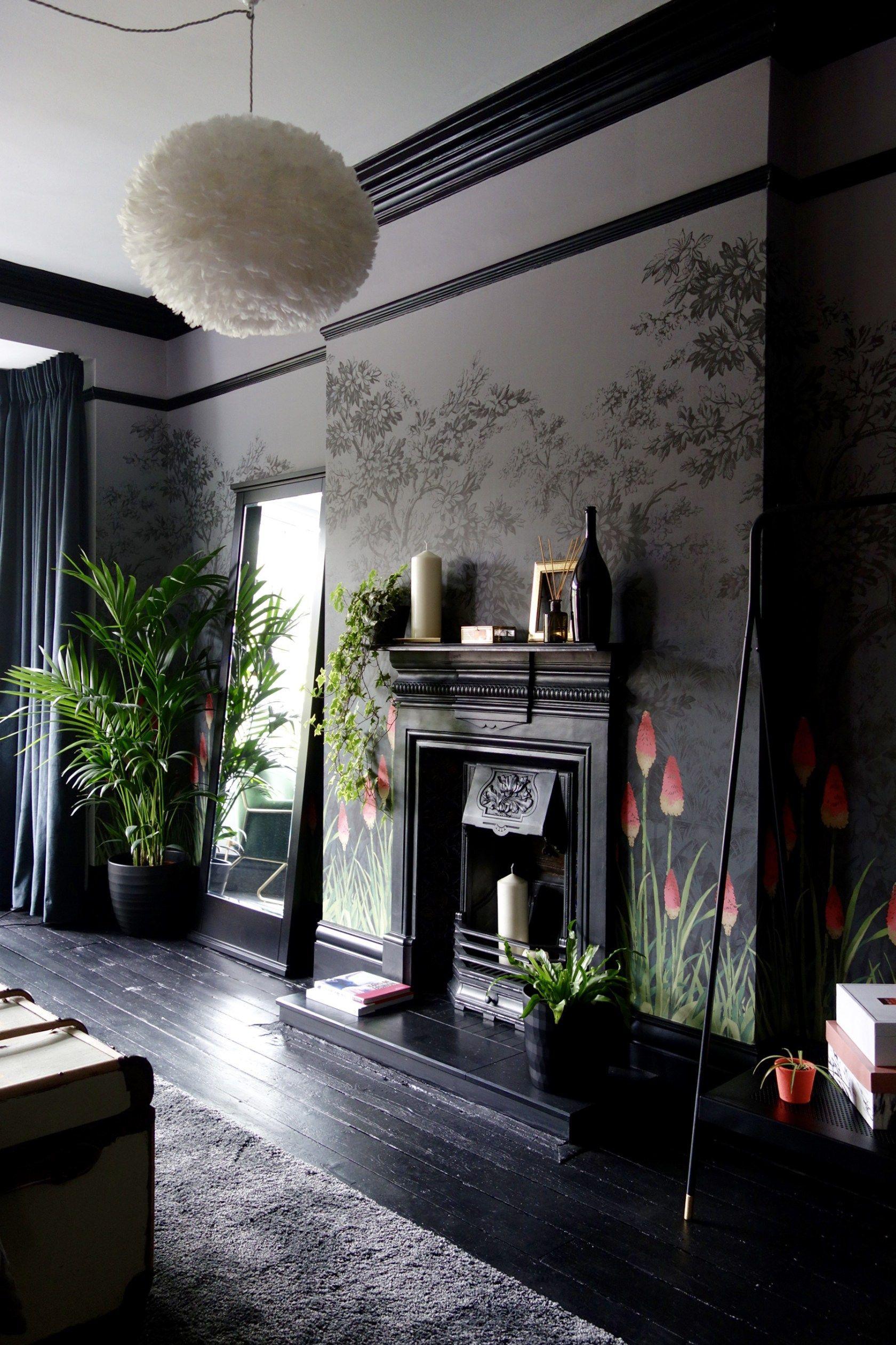Dark grey living room little greene wallpaper  dark grey black paintwork and coral