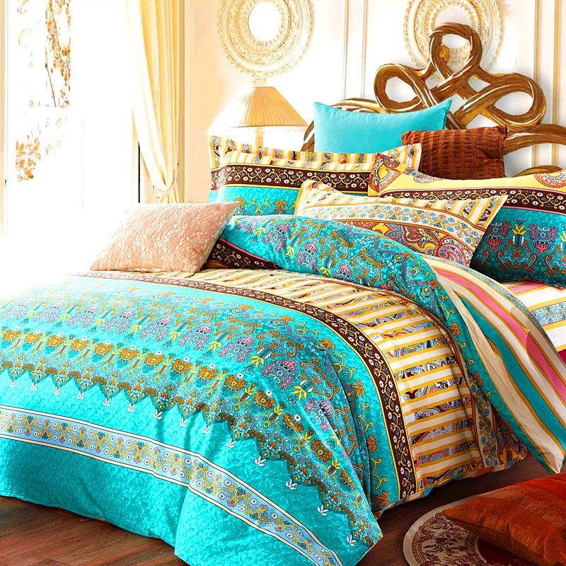 Turquoise Green Yellow And Rust Orange Bohemian Tribal Themed Retro Indian Pattern Stripe Print Fu Bedding Sets Bed Linens Luxury Matching Bedding And Curtains