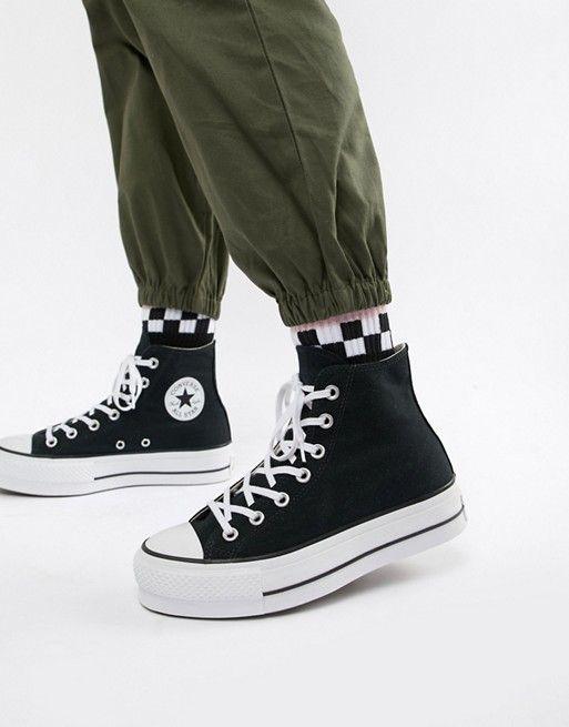 265cb846a12 Converse Chuck Taylor All Star platform hi black sneakers in 2019 ...