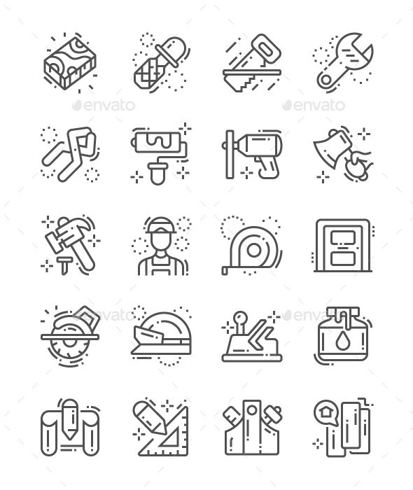Carpenter Line Icons. Fully customisable set of icons.