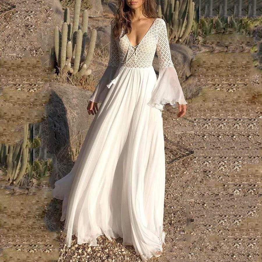 Boho High Waist Lace Maxi Dress Maxi Dress Flare Sleeve Dress Boho Lace Maxi Dress [ 900 x 900 Pixel ]