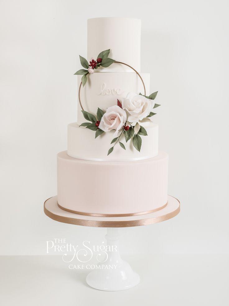 Hochzeitstorten erröten #hochzeitstorten Kupfer Reifen Zucker Blumen Reifen erröten rosa wir …