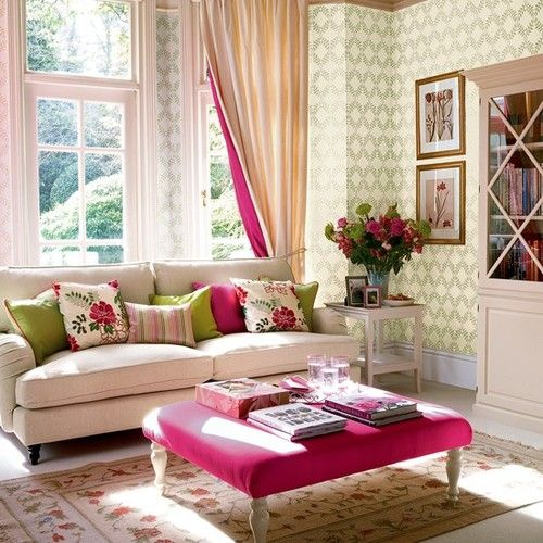 A bright & refreshing living room with colors of magenta ...