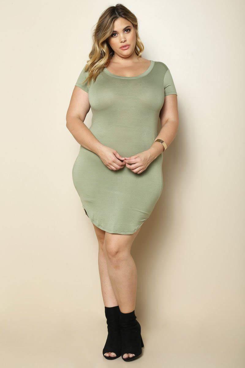Olive T-Shirt Mini Plus Size Dress