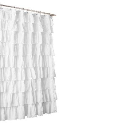 Large Ruffle Shower Curtain White Lush Decor Ruffle Shower