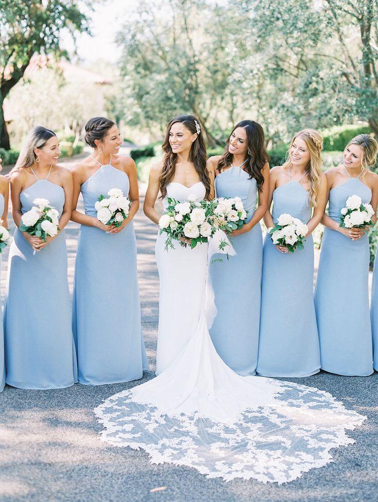 Light Blue Bridesmaid Dresses Got With White Flowers To Match The Bride S Dress Bridesma Light Blue Bridesmaid Dresses Light Blue Bridesmaid Blue Bridesmaids