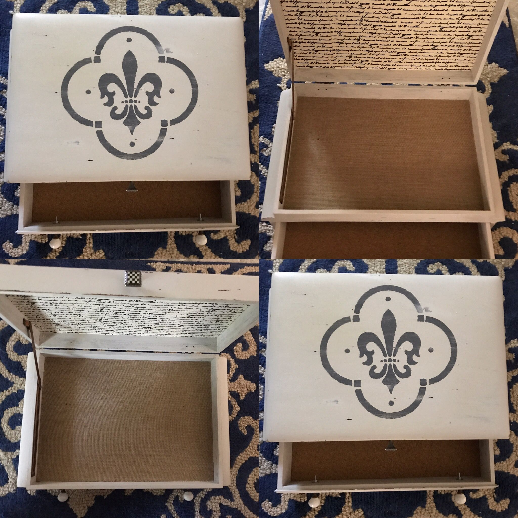 Old Wooden Box With Drawer Added Burlap And Cork Linings