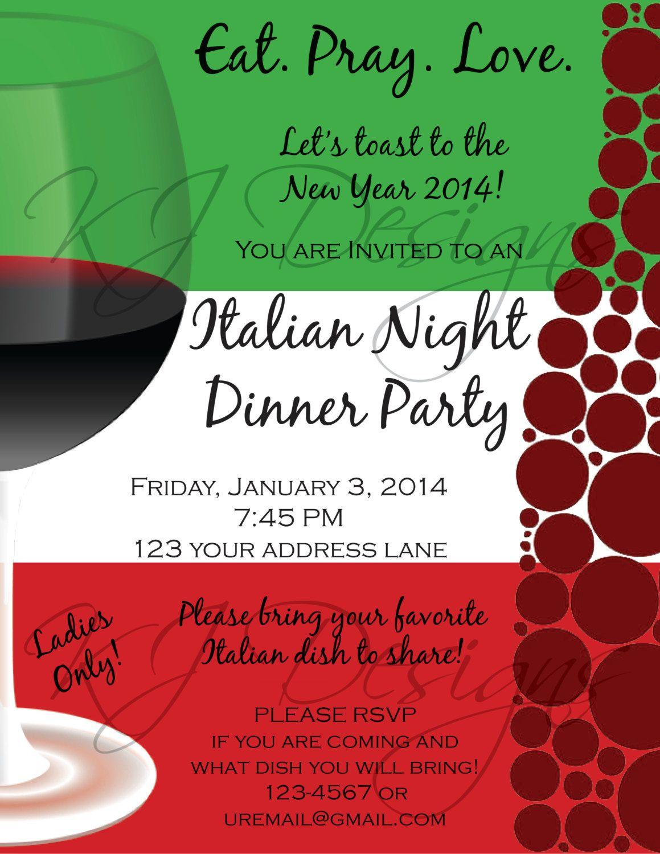 Italian Dinner Party Invitation Template Italian Themed
