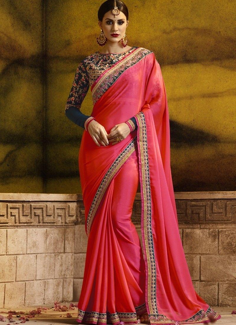 698e915775 Pink Art Silk Designer Saree sku:518273 518273 Red Saree Wedding, Wedding  Wear,