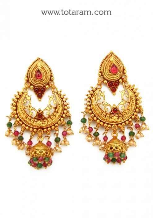 Chandbali Earrings Temple Jewellery 22K Gold Drop Earrings