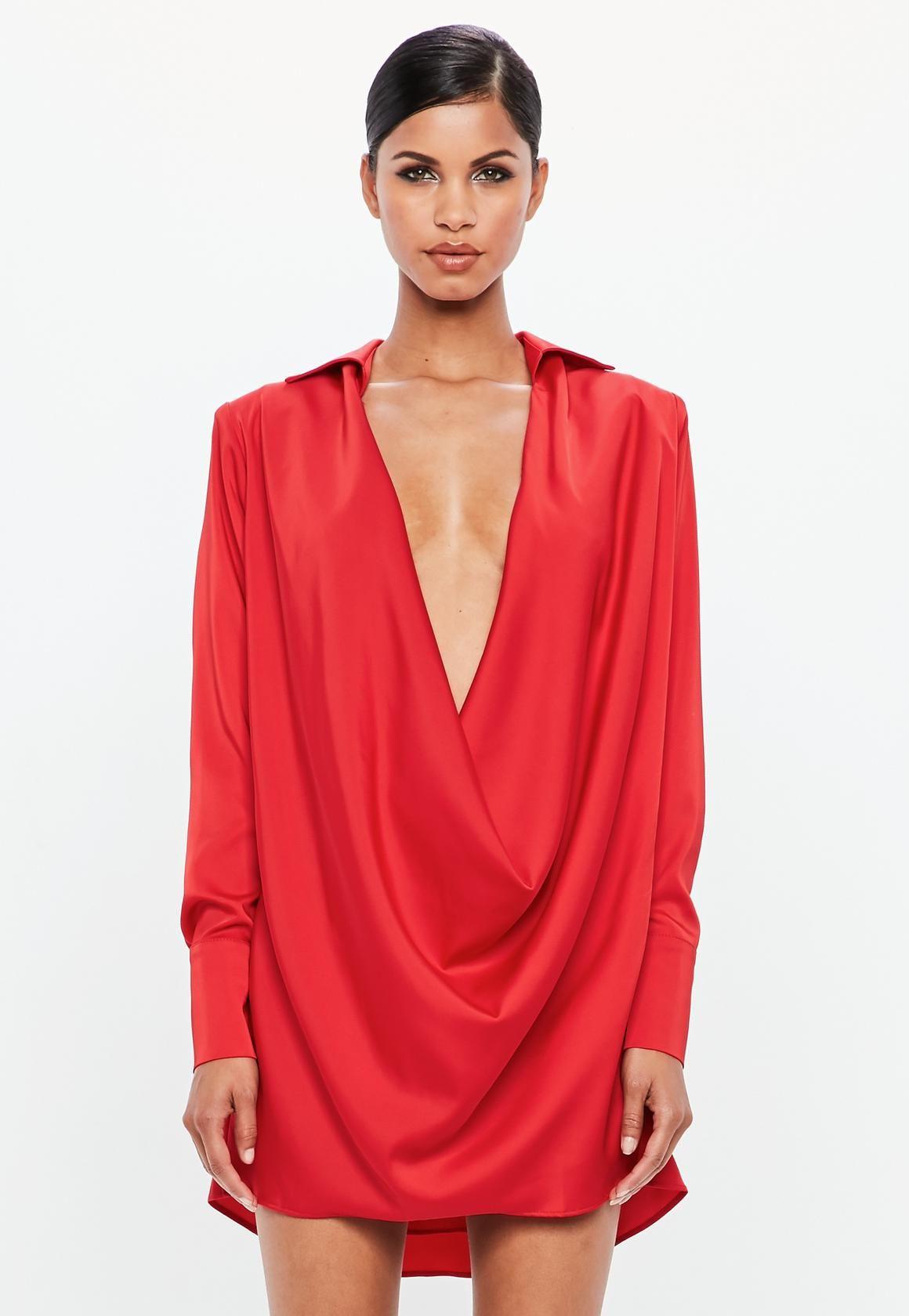 Missguided Peace Love Red Satin Cowl Neck Mini Dress Skater Dresses Casual Women Dress Online Black Long Sleeve Dress