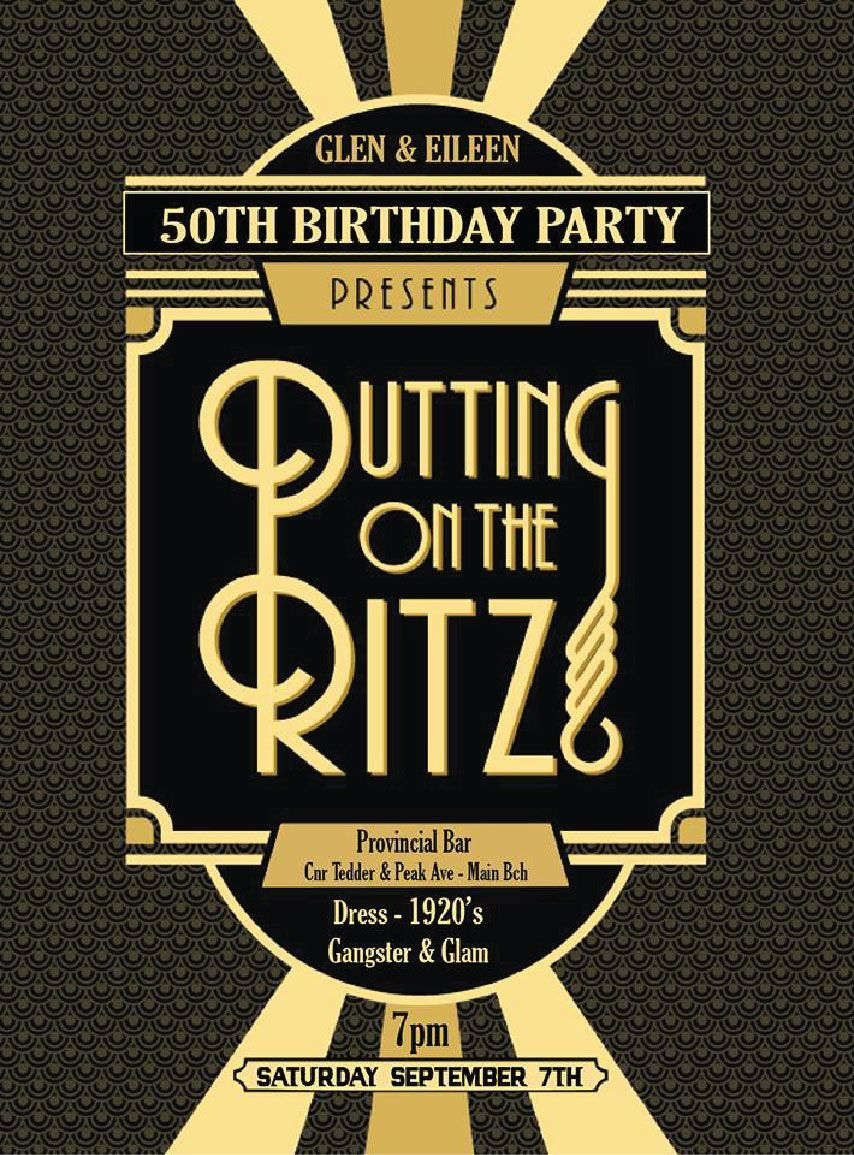 1920\'s Gatsby inspired party invitation that is yours free to ...