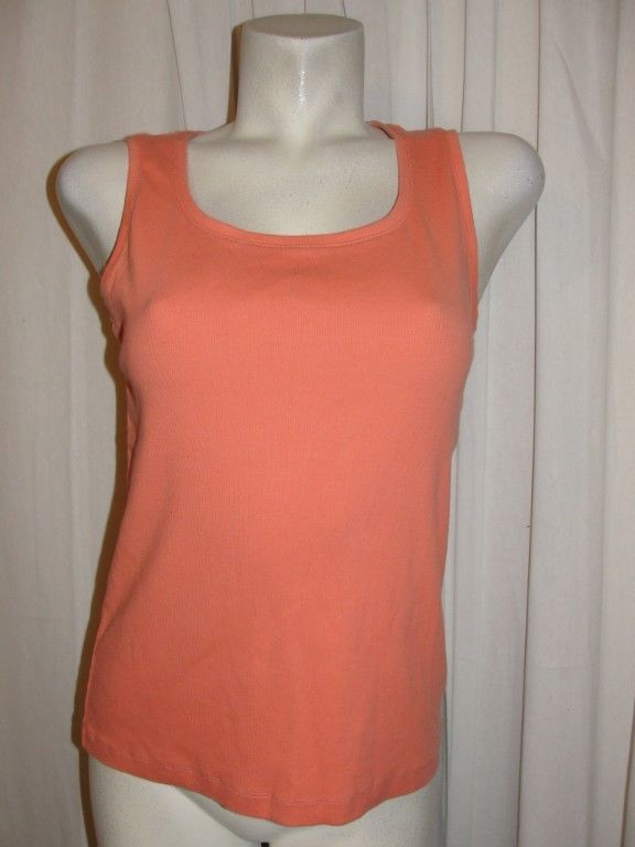 d3302ec900810 CHICOS the ultimate tee Orange Stretch Cotton Sleeveless Tank Top Sz 2  Large  Chicos  TankCami  Casual