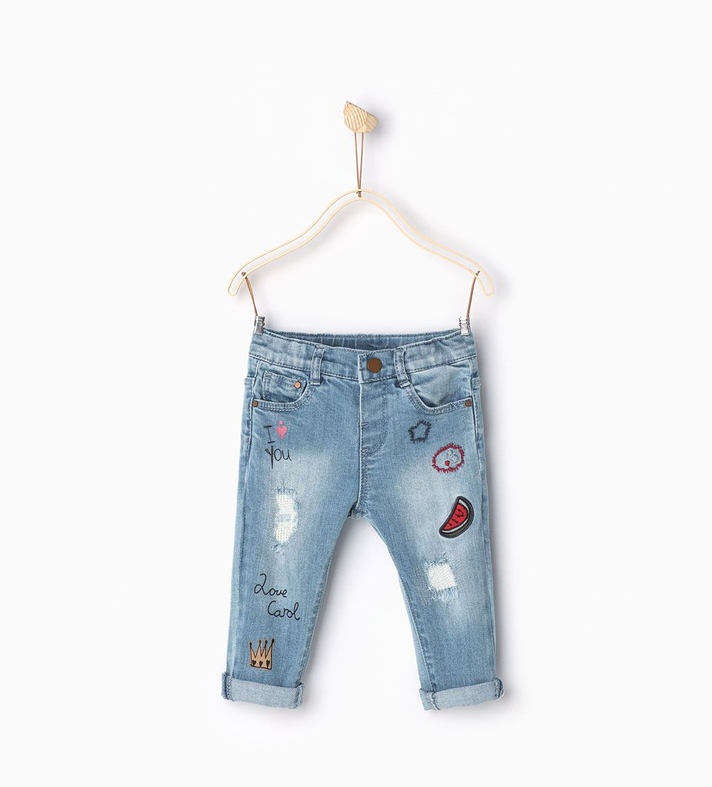 9336336329 Printed and embroidered jeans-Skirts and trousers-Baby girl