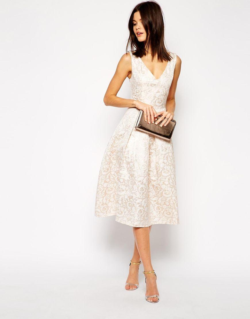 Image of true decadence rose gold jacquard midi prom dress