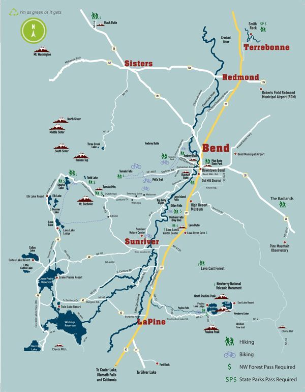 Bend Biking and Hiking Map Places to See and Go Pinterest Bend