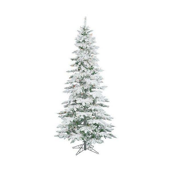 5ft Pre-Lit Artificial Christmas Tree White Flocked Slim Utica