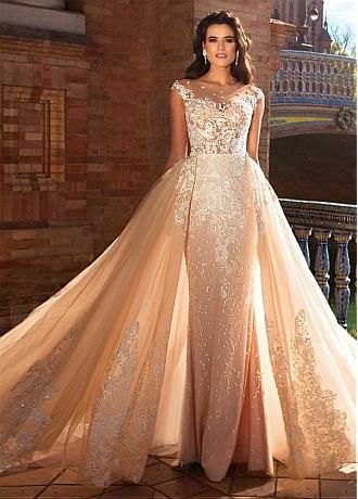 Marvelous Tulle & Pongee Bateau 2 In 1 Wedding Dresses With Lace ...