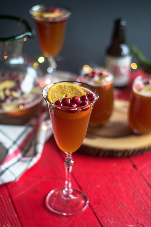 Christmas Beer Sangria Thyme Love Recipe Christmas Beer Christmas Drinks Winter Cocktails
