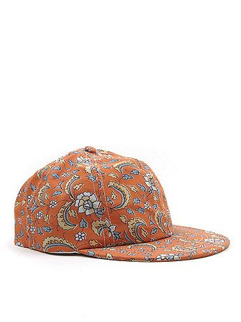 The Floral Printed Cap in Peach Paisley Floral.