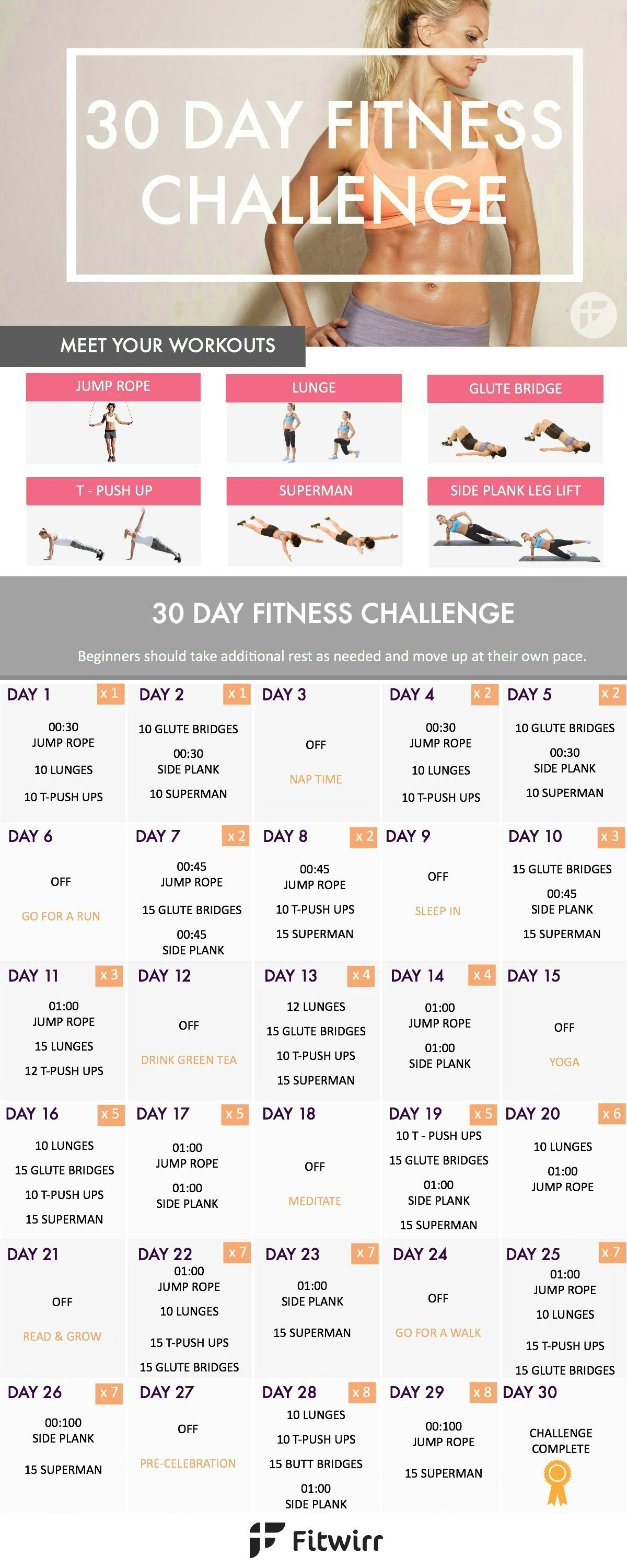 30 day fitness challenge transform your body in 30 days losing weight toning pinterest. Black Bedroom Furniture Sets. Home Design Ideas