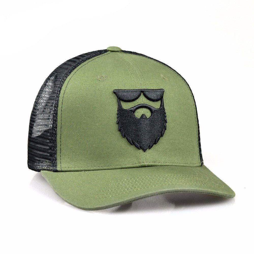 923d84e58371c No Shave Life Beard Co. OG Beard Logo Mesh Trucker Military - 1 Beard Logo