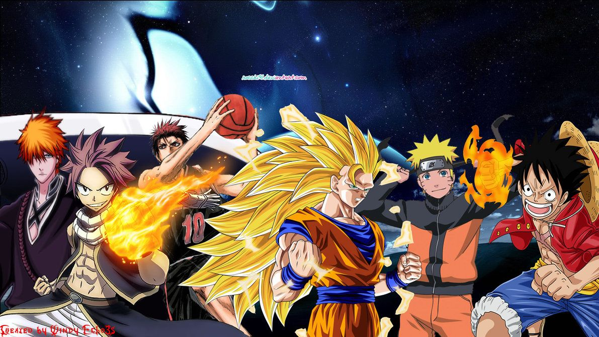 Anime Collaboration Wallpaper 2 Goku And Friends By Windyechoes On Deviantart Anime Wallpaper Anime Naruto Anime Backgrounds Wallpapers All anime together wallpaper