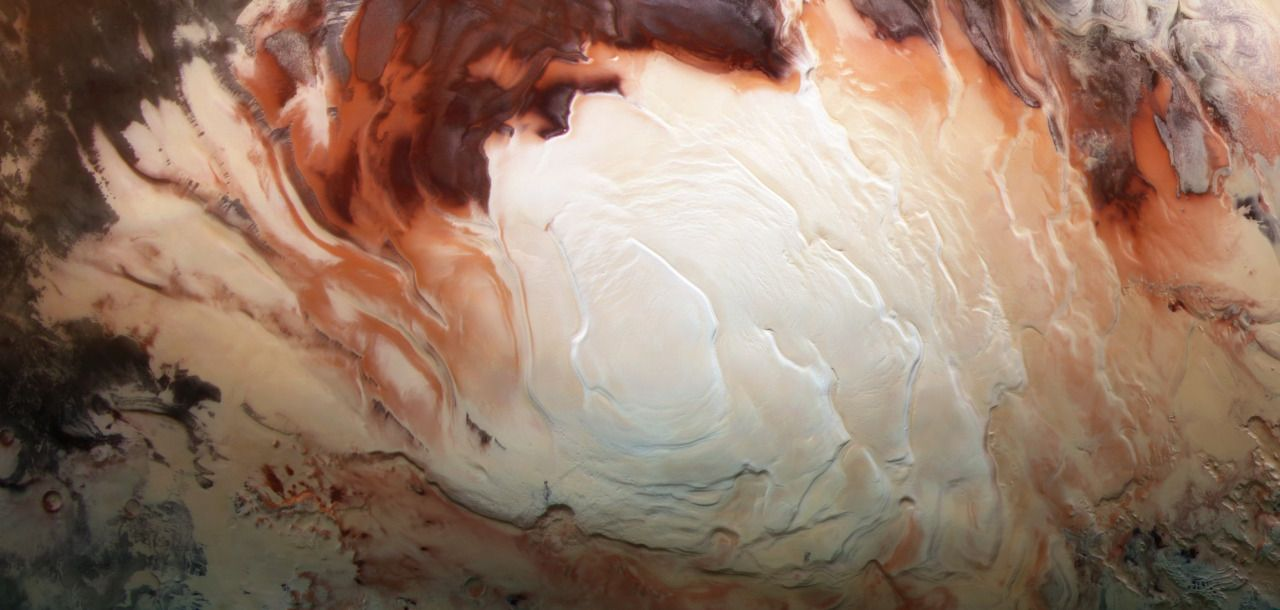 Cappuccino swirls at Mars south pole. . Photo by Bill Dumsford .