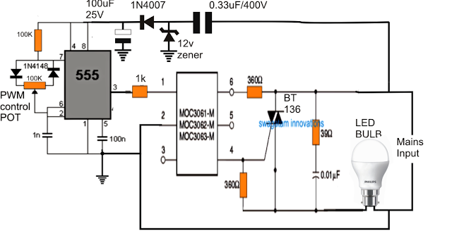 in this article we learn how to make a dimmer circuit for leds bulbs and led tubes which are