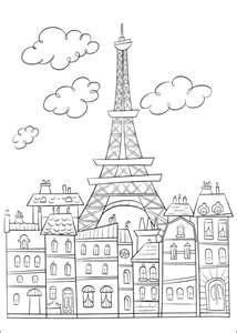 Bastille Day Eiffel Tower Coloring Page Printable