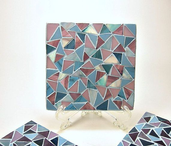Stained glass mosaic coaster set plum teal by threesisterscandles
