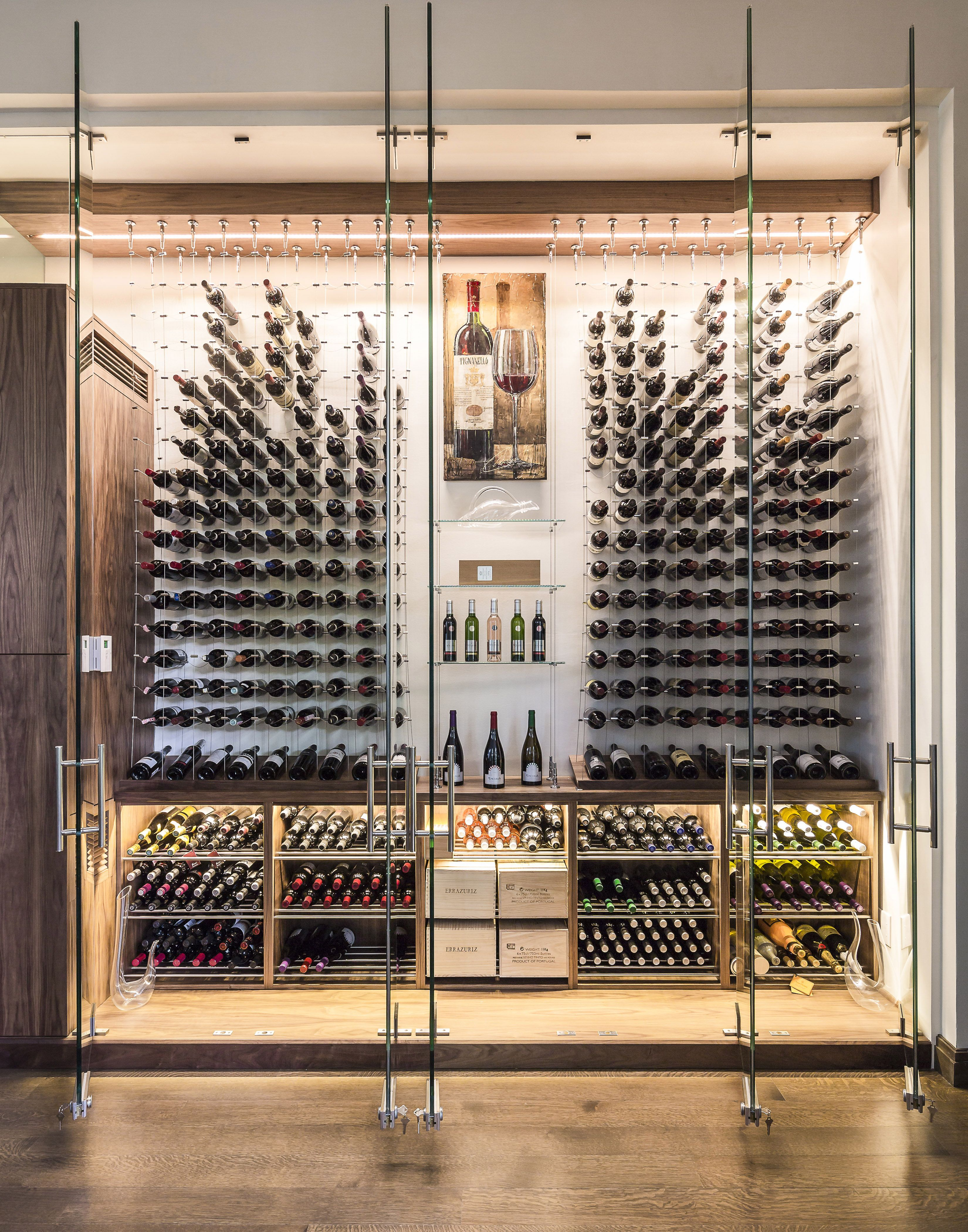 Modern Custom Reach In Wine Cellar Featuring The Cable Wine System Www Cablewinesystems Com Designed And Const Home Wine Cellars Wine Cellar Design Wine Closet